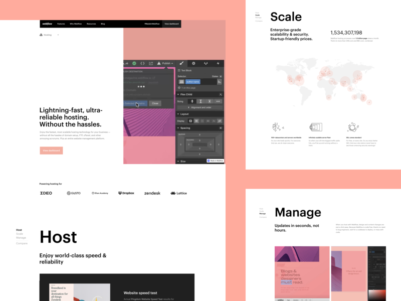 Webflow feature pages - Hosting webdesign interface hosting webflow