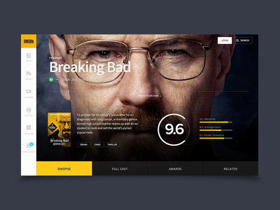 IMDB Concept Hero ui interface black video breaking bad imdb hero design ux app
