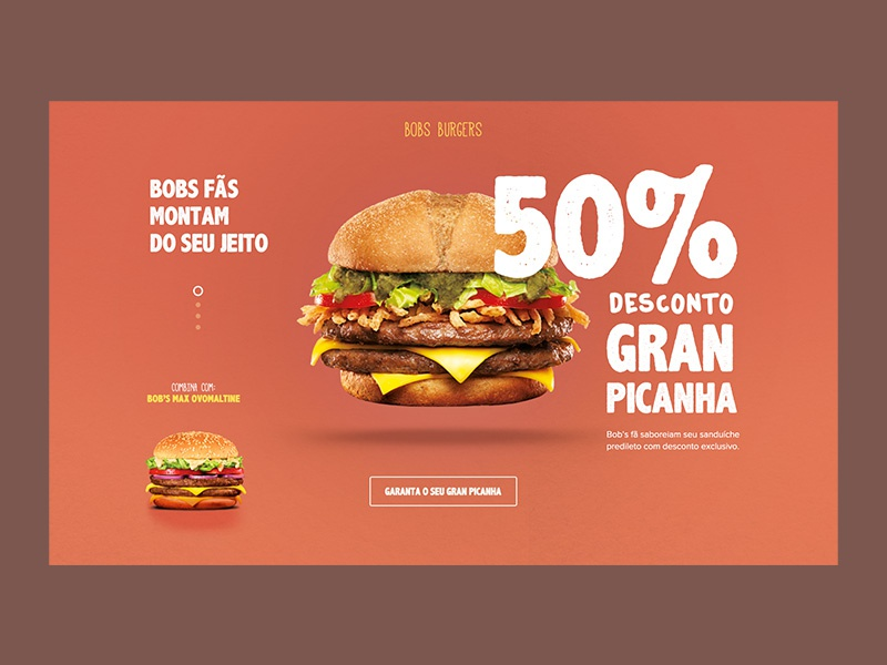 Pitch Bobs type site website landingpage digital hamburger fast food hero interface