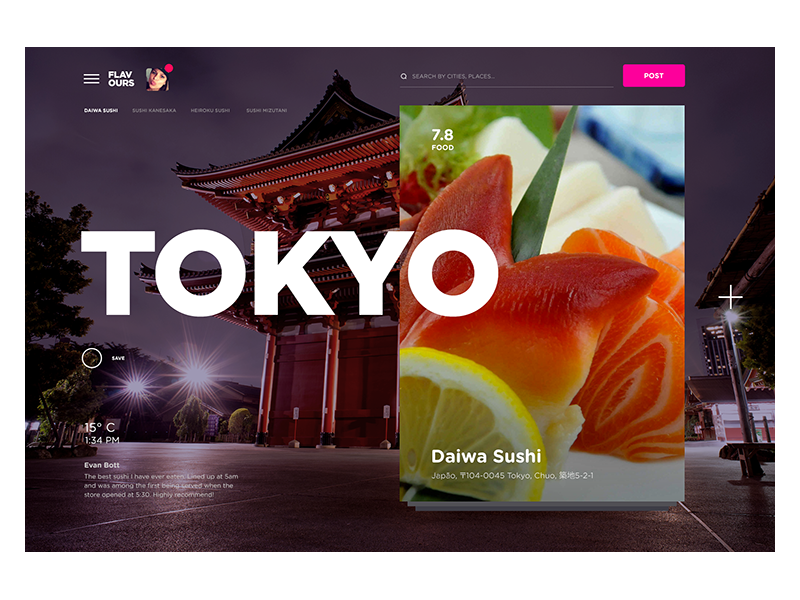Flavours design tokyo restaurant tips interface colors type cards fastfood food city