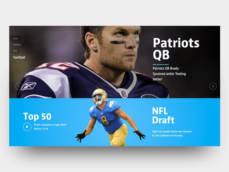 Herosport scroll web digital design video patriots football interaction sports interface