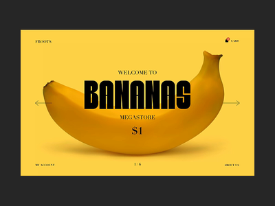 Bananas checkout ecommerce cart type interaction hero yellow fruits video gif