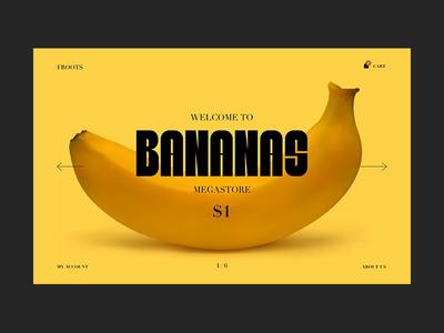 Bananas checkout ecommerce cart type interaction hero yellow fruits video gif