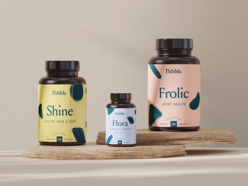 Pebble Products products 3d supplements pet label branding agency direct to consumer brand design branding design packaging branding