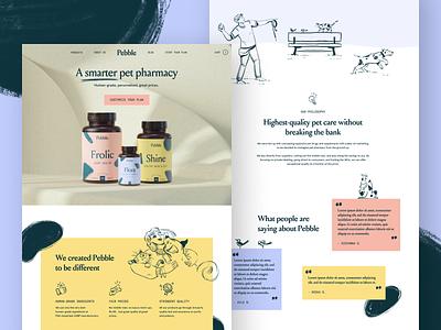 Pebble illustrator landingpage supplements cat dog pet pets brand identity design direct to consumer typography icon brand brand identity branding illustration