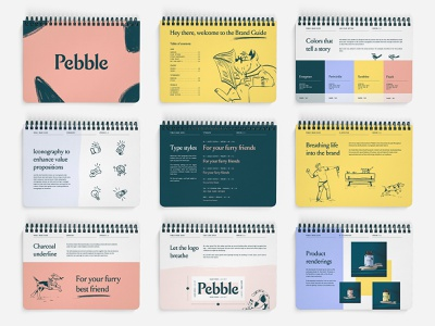 Pebble Brand Guide iconography icons cat dog guide illustration color palette logo supplement pets book brand book brand guideline brand guide branding brand