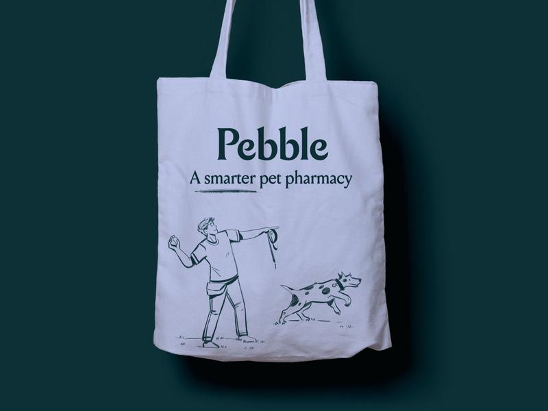 Pebble Tote Bag pebble label design packaging supplements fetch dog pet logo typography brand brand identity branding illustration
