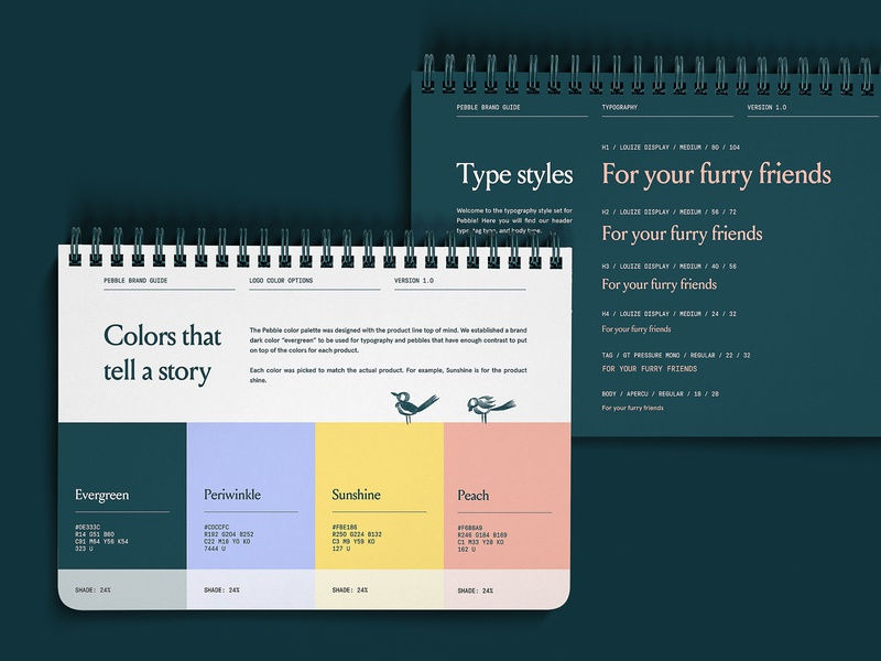 Pebble Brand Book - Color and Type green cat dog pets pantone type styles modern colors d2c direct to consumer pet brand book logo typography icon brand brand identity branding illustration