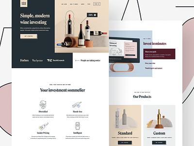 Vinovest Website branding concept iconography icon homepage landing page modern investment wine investment wine branding agency branding design 3d brand identity branding illustration