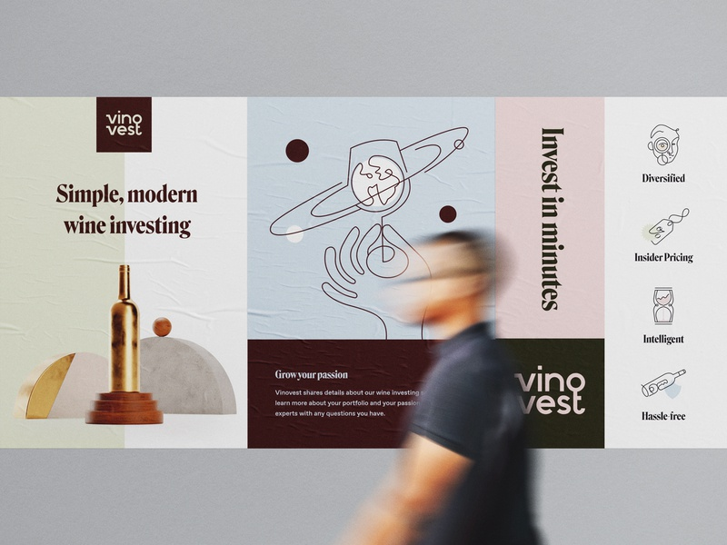 Vinovest Posters advertising 3d iconography icons value props modern wine fintech finance logo typography icon brand brand identity branding illustration