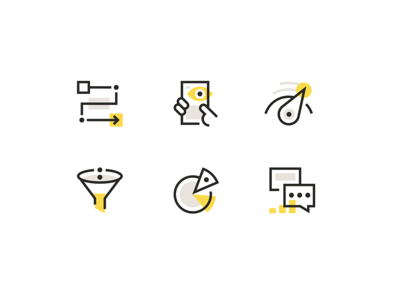 Icons app chat results service speed data user experience funnel lineart illustrations brand identity branding brand startup iconography icons