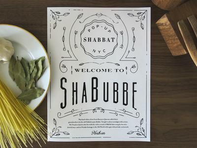 Pop-Up Shabbat restaurant black and white jewish menu pop-up elegant classy branding