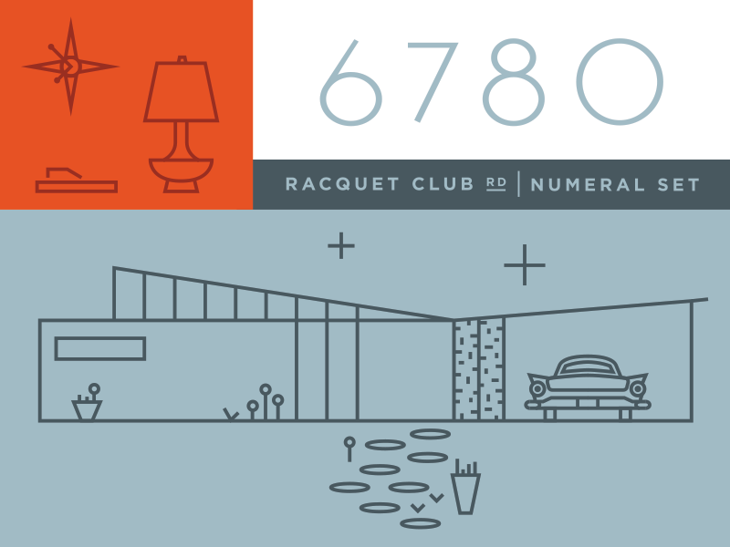 Racquet Club Numerals palm springs numbers modern california mid-century modern numerals font