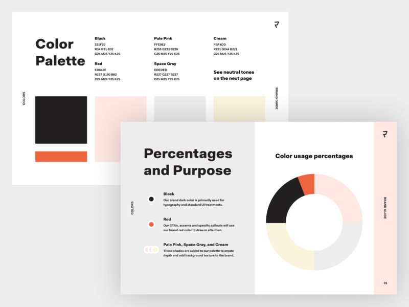 Color Percentages and Purpose styleguide booklet illustration website branding logo colors brand book brand guide brand identity brand