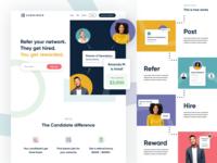 Candidate Homepage ui uiux web designer web design hire tech modern landing page website brand brand identity branding illustration