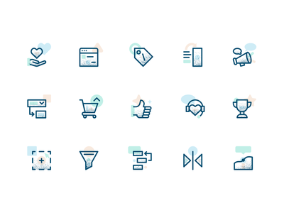 Feature Icons line art texture illustrations illustrator icons saas icon set iconography icon brand brand identity branding illustration