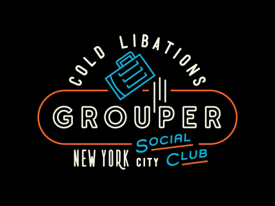 Grouper Neon Sign neon sign beer social club illustration nyc bar line sign type