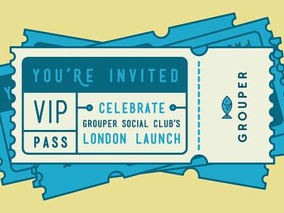 Tickets fish ticket grouper grouper social club vip invitation pass illustration icon celebrate