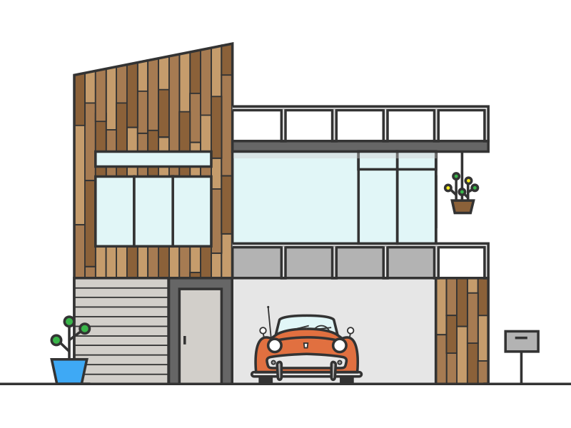 SoCal Mid Century Modern los angeles illustration plants california car triumph socal icon mid century modern modern house dwell