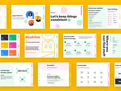 Demio Brand Uplift saas b2b tech brand guidelines brand guide brand designer marketing website illustration logo typography icon brand identity branding brand