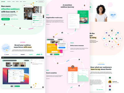 Demio ui colorful modern tech web designer web design landing page style guide brand guide iconography illustration brand designer brand design saas b2b marketing website website