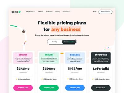 Demio Pricing Page! ui brand identity brand designer brand design brand startup saas b2b tech agency web designer web design website pricing
