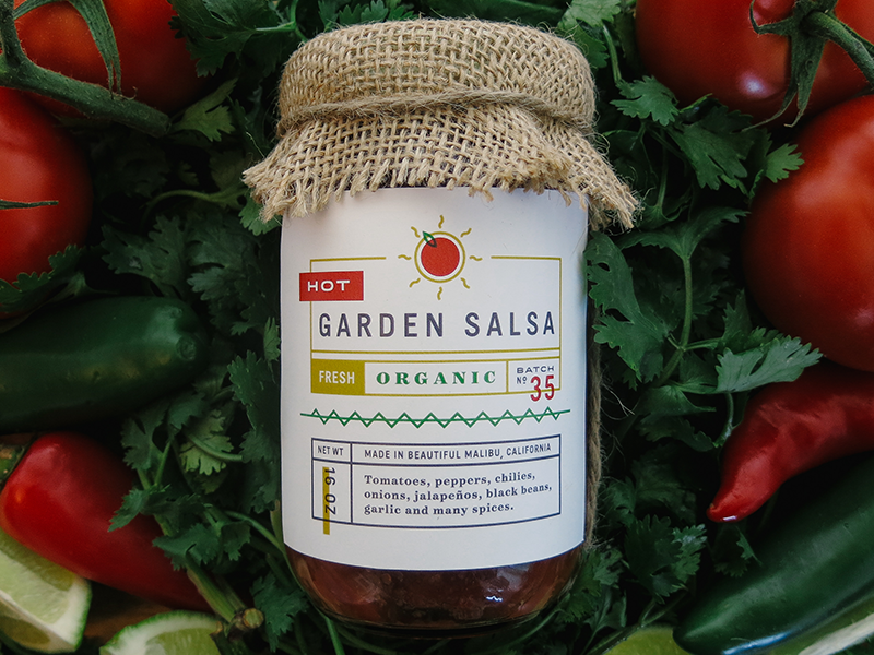 Garden Salsa Packaging packaging salsa organic hot sun typography label numerals illustration