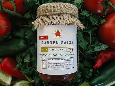 Garden Salsa Packaging packaging salsa organic hot sun typography label numerals illustration
