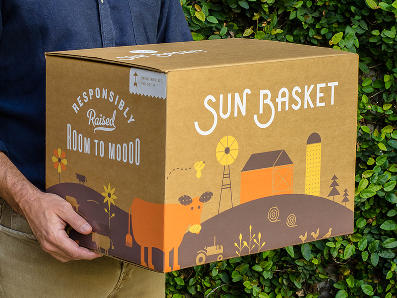 Sun Basket Packaging script flowers california packaging delivery illustration startup custom type logo farm organic typography