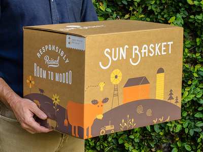 Sun Basket Packaging script flowers california packaging delivery illustration startup custom type logo farm organic typography