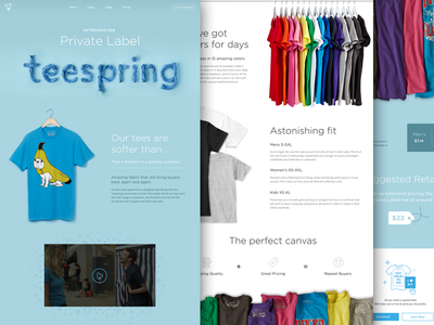 Private Label apparel marketing typography single page icons landing page