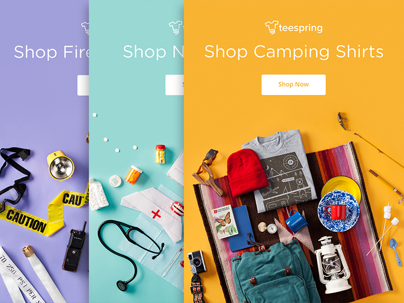 Category Emails marketing branding email campaign organized neatly playful photography camping illustration apparel