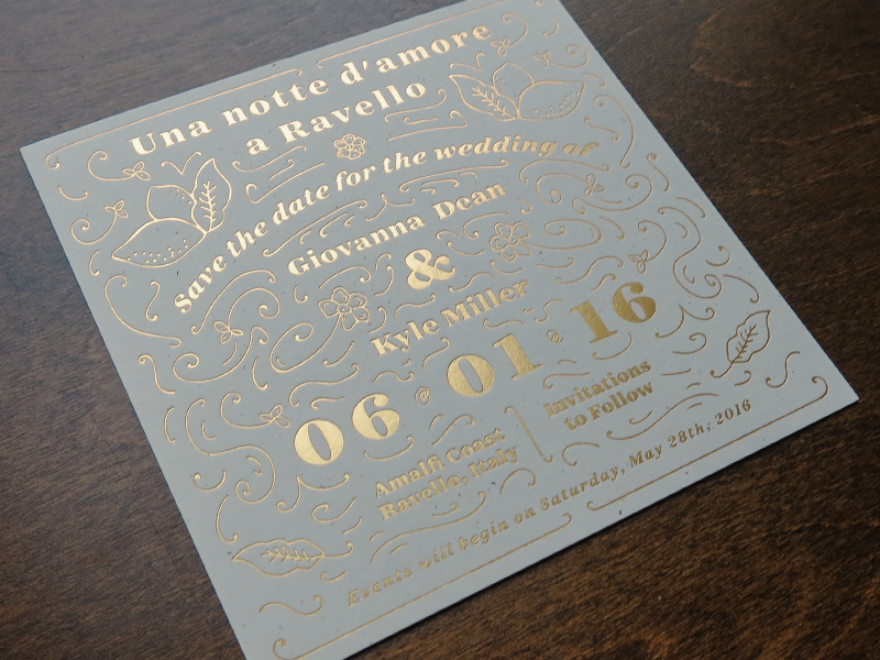 Save The Date lines illustration typography invitations line art letterpress wedding mamas sauce gold foil save the dates print