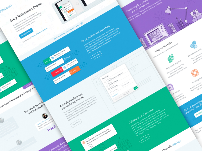 Whiteboard features learn more marketing page homepage iconography task management responsive design illustration website landing page