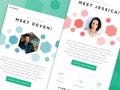 Success Stories Email featured illustration san francisco startup onboarding shapes polygon template marketing email