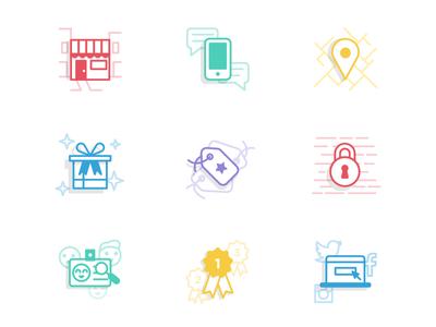 Reward Platform Icon Set business lock sign up location phone rewards social icon set shop line art iconography icon