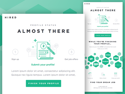 Hired Email Template featured illustration san francisco startup onboarding shapes polygon template marketing email