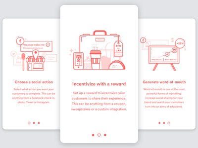 Rewards Onboarding mono color rewards shop sign up line art flat icons app how it works illustration ui onboarding