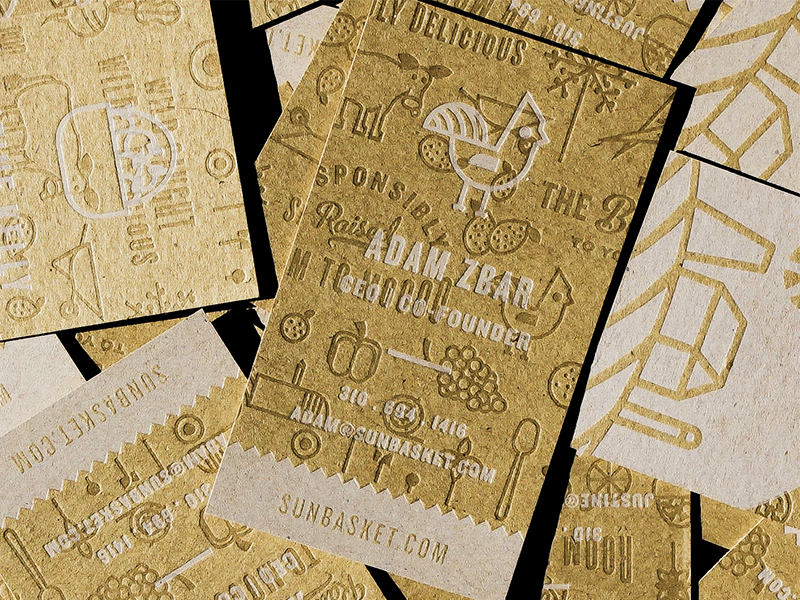 Sun Basket Letterpress Business Cards