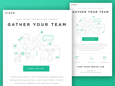 Gather Your Team Email line art startup computer people team recruiting template email