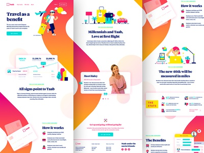 Taab Marketing Site travel start up illustration brand identity one page website landing page marketing site brand