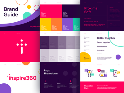 Inspire360 Brand Guide start up illustration icon brand book typography colors logo brand identity brand