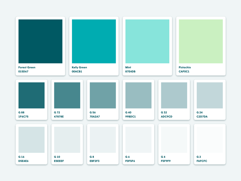 Green Color Palette Fresh Mint Ui Brand Ideny Palettes Design