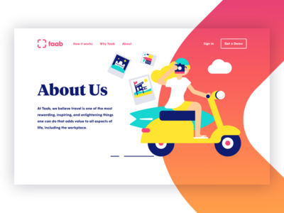 About Us start up surf taab about us illustration travel scooter about page website landing page