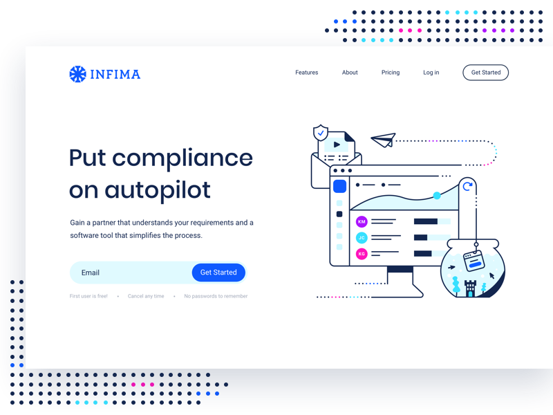 Infima Website icon landing page brand identity branding start up compliance security illustration ux ui wesbite