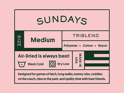 Sundays Clothing Tag type line art packaging apparel vintage brand identity brand typography icon branding illustration