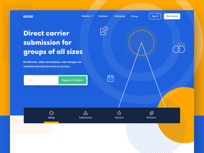Ease Connect benefits hr icons icon illustration design ui landing page typography brand brand identity branding