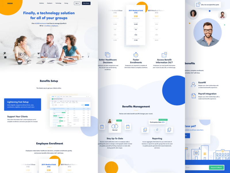 Ease Overview brand designer benefits hr website landing page design ui icon brand identity branding illustration