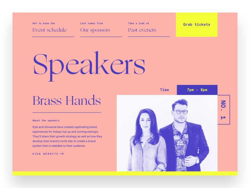 Speakers Page modern speaking conference ui website typography brand brand identity branding illustration