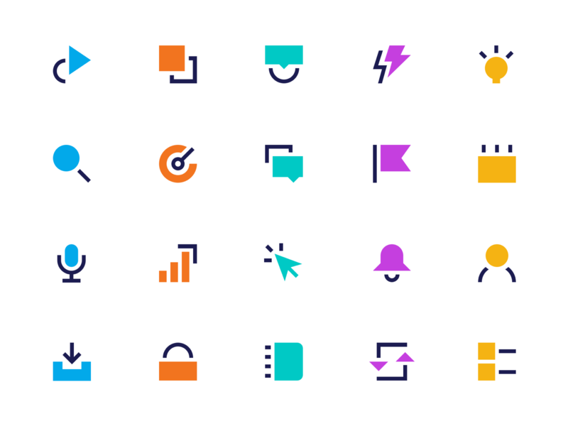 Geometric Icon Set website tech bold line icons lineart line modern icon set icons icon brand branding illustration